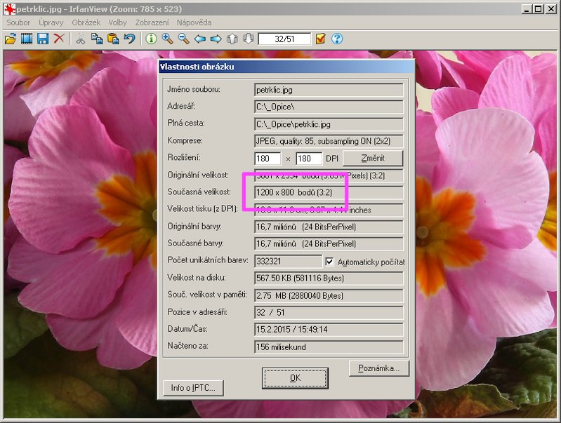 IrfanView - Kontrola vlastností obrázku